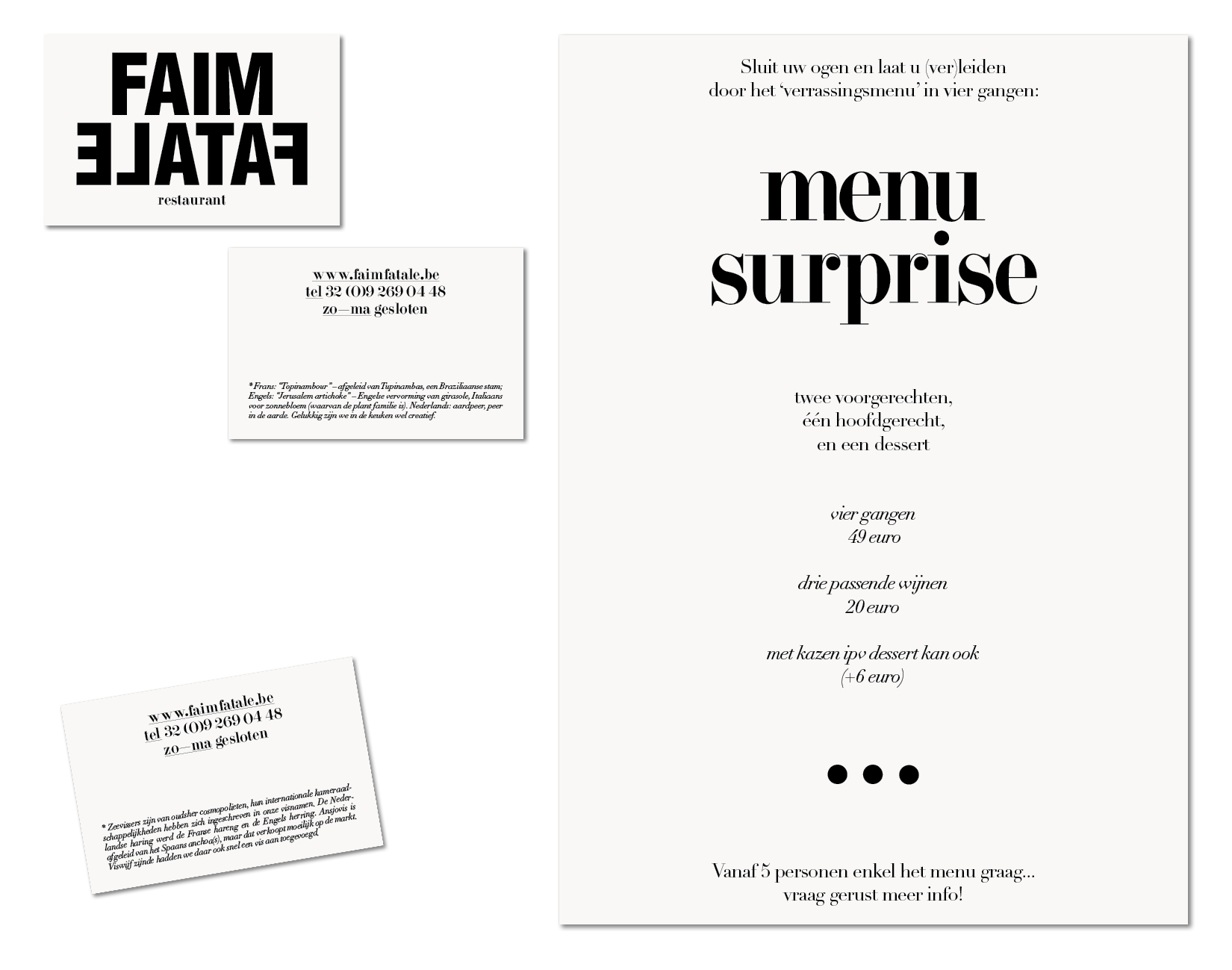 Faim Fatale menu and businesscard design Lauren Grusenmeyer